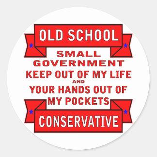 Conservador de la escuela vieja etiqueta redonda