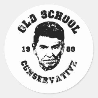 Conservador de la escuela vieja pegatina redonda
