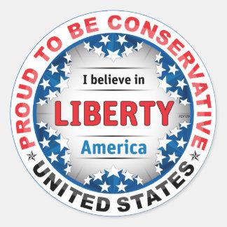 Conservador orgulloso etiquetas redondas