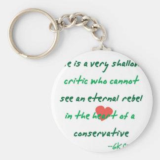 Conservador rebelde llavero redondo tipo pin