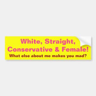 ¡Conservador y hembra! Pegatina De Parachoque