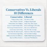 Conservadores contra liberales 10 diferencias alfombrilla de raton