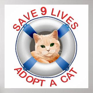 Conservante de vida con la adopción del gato impresiones