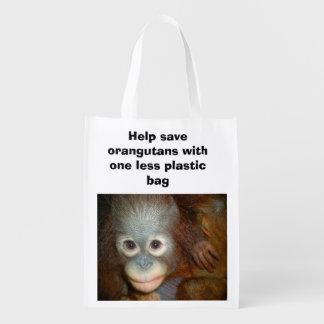 Conservation Endangered Species Orangutans Reusable Grocery Bag