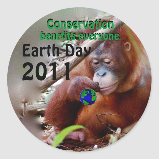 Conservation  for Earth Day customize the date Classic Round Sticker