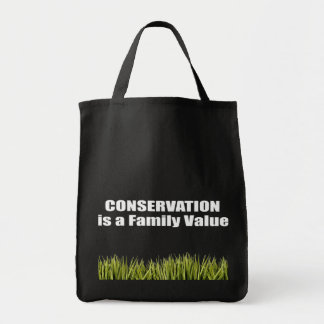 Conservation is a Family Value Grocery Tote Bag