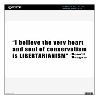 Conservatism Libertarianism Quote by Ronald Reagan Decals For The MacBook