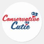 Conservative Cutie Round Stickers