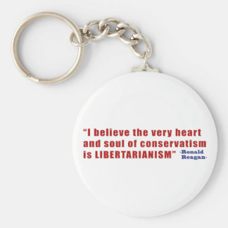 Conservative Libertarian Quote by President Reagan Basic Round Button Keychain