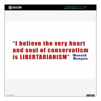 Conservative Libertarian Quote by President Reagan Decals For MacBook