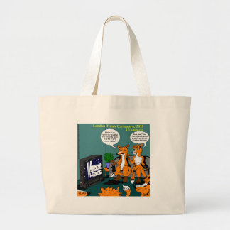 Conservative News Funny Cartoon Large Tote Bag