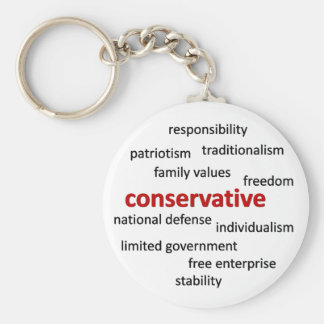 Conservative philosophy and values basic round button keychain