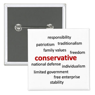 Conservative philosophy and values 2 inch square button