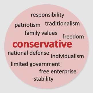 Conservative philosophy and values classic round sticker