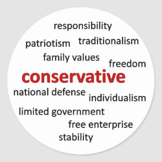Conservative philosophy and values round stickers