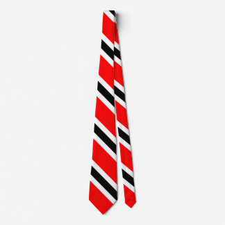 Conservative Red Black Stripes on White Tie