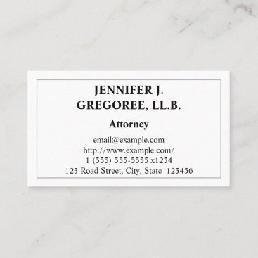 Conservative & Restrained Attorney Business Card