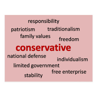 Conservative values and philosophy postcard