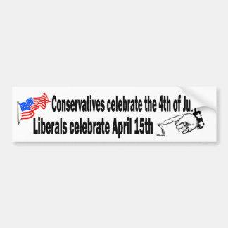 Conservative vs. Liberal Bumper Sticker Car Bumper Sticker