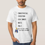 """Conservative, white, male, Christian, Gun owner T-Shirt<br><div class=""""desc"""">How else can I offend you today,  snowflake? Oh yeah - TRUMP VOTER!</div>"""