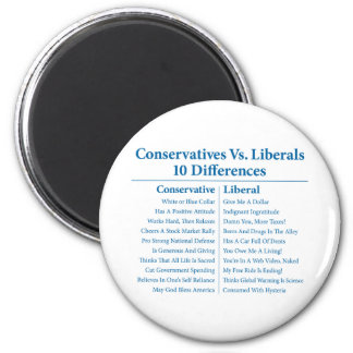 Conservatives Vs. Liberals 10 Differences 2 Inch Round Magnet