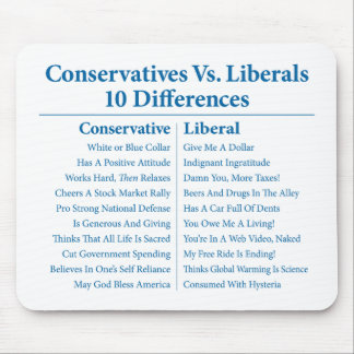 Conservatives Vs. Liberals 10 Differences Mouse Pad