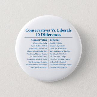 Conservatives Vs. Liberals 10 Differences Pinback Button