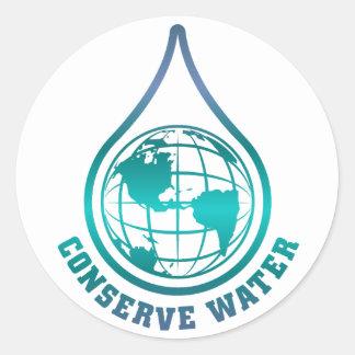 Conserve a los pegatinas del agua pegatina redonda
