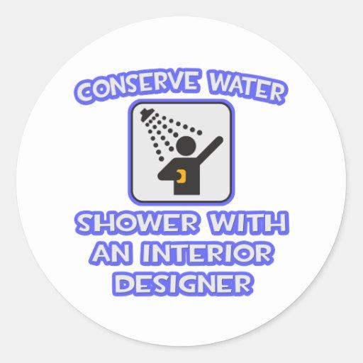 Conserve el agua. Ducha con el interiorista Pegatinas