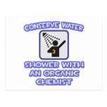 Conserve el agua. Ducha con el químico orgánico Postal