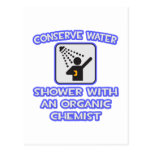 Conserve el agua. Ducha con el químico orgánico Postales