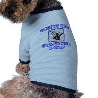 Conserve el agua Ducha con un cocinero Camisa De Perro
