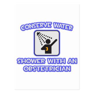 Conserve el agua. Ducha con un obstétrico Tarjetas Postales