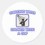 Conserve el agua. Ducha con un poli Pegatina
