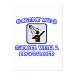 Conserve el agua. Ducha con un programador Tarjeta Postal