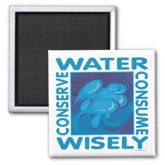 Conserve el agua imán cuadrado