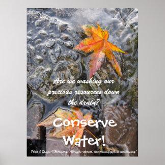 ¡Conserve el agua Poster