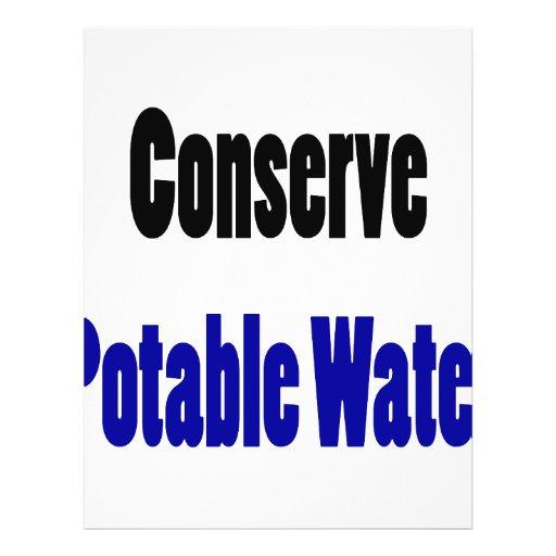 Conserve el agua potable tarjetón