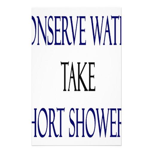Conserve el agua toman duchas cortas papelería