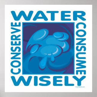 Conserve el agua - uso sabiamente impresiones