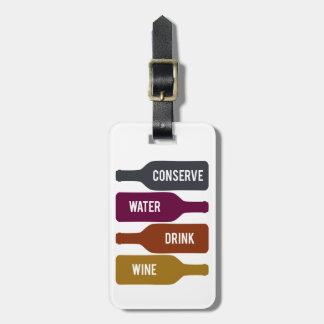 Conserve el vino de la bebida del agua etiquetas de maletas