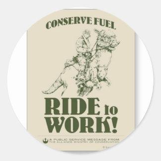 conserve_fuel_ride_a_tauntaun_to_work_postcard-p23 classic round sticker
