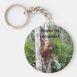 Conserve la naturaleza llavero redondo tipo pin