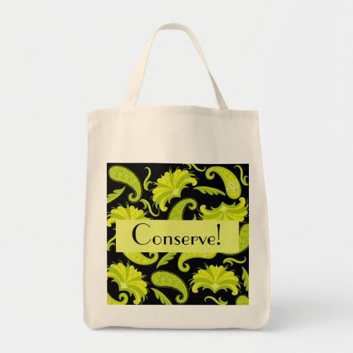 Conserve Personalized Green & Black Paisley Reuse Grocery Tote Bag