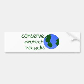 Conserve protegen reciclan pegatina de parachoque