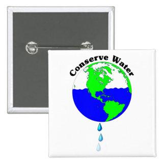 Conserve Water 2 Inch Square Button