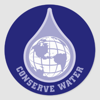 Conserve Water Classic Round Sticker