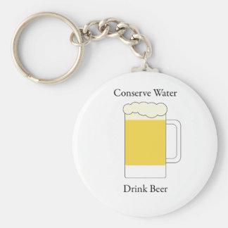 Conserve Water Drink Beer Basic Round Button Keychain