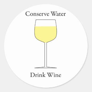 Conserve Water Drink Wine Classic Round Sticker