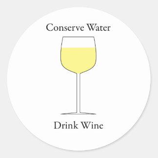 Conserve Water Drink Wine Round Sticker